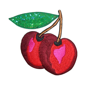 ID 1220Y Pair of Cherries With Sequins Patch Fruit Embroidered Iron On Applique