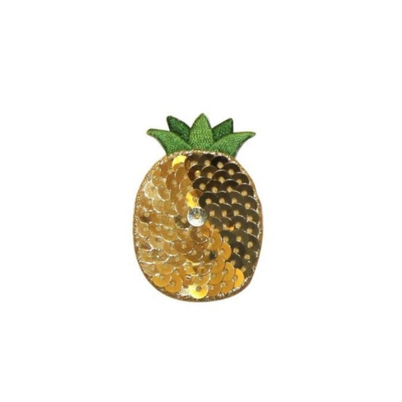 ID 1223H Pineapple With Sequin Patch Summer Fruit Embroidered Iron On Applique
