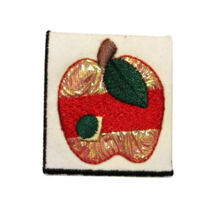 ID 1229A Shiny Apple Patch Tree Fruit Sweet Bake Embroidered Iron On Applique