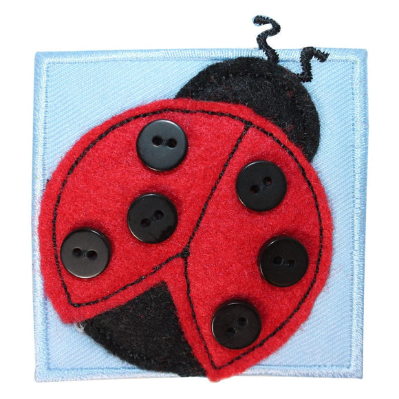 ID 1716B Ladybug Badge Patch Garden Button Craft Embroidered Iron On Applique