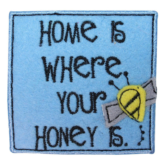 ID 1718A Home Honey Badge Patch Felt Bee Garden Embroidered Iron On Applique