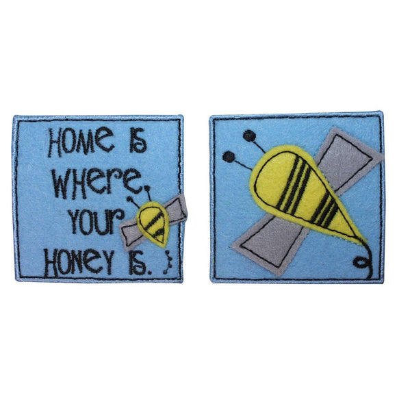 ID 1718AB Set of 2 Bee Badge Patch Honey Bumblebee Embroidered Iron On Applique