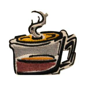 ID 1283 Cartoon Coffee Pot Patch Glass Cup Morning Embroidered Iron On Applique