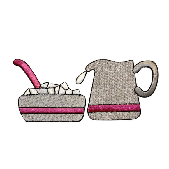 ID 1284AB Set of 2 Coffee Creamer And Sugar Patch Embroidered Iron On Applique