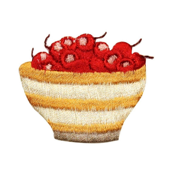 ID 1298 Bowl of Cherries Patch Fruit Snack Desert Embroidered Iron On Applique