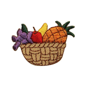 ID 1303 Fruit In Wicker Basket Patch Assorted Set Embroidered Iron On Applique