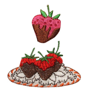 ID 1312AB Chocolate Covered Strawberry Patch Fruit Embroidered Iron On Applique
