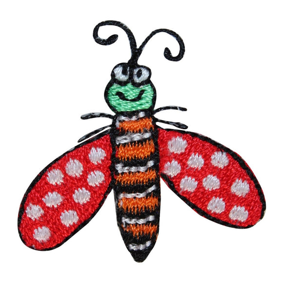 ID 1605A Happy Bug Patch Bee Fly Garden Insect Embroidered Iron On Applique