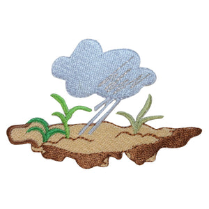 ID 1762 Rainy Day Patch Rain Cloud Scene Craft Embroidered Iron On Applique
