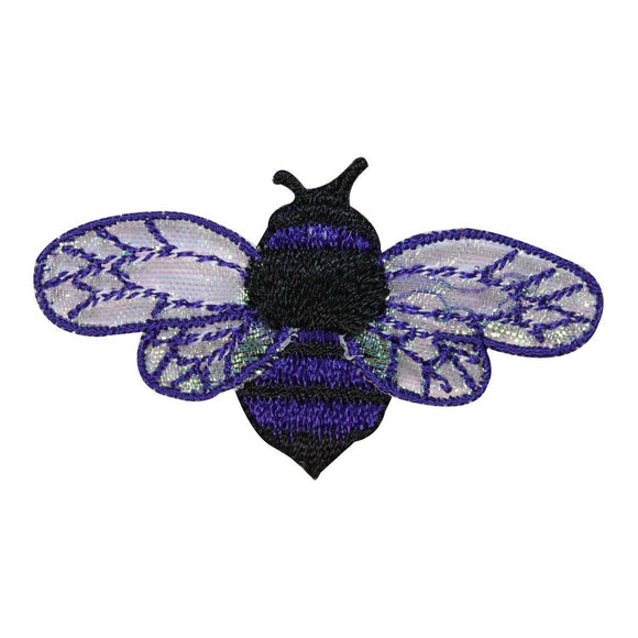 ID 1615E Bee Flying Patch Honey Wasp Colorful Bug Embroidered Iron On Applique