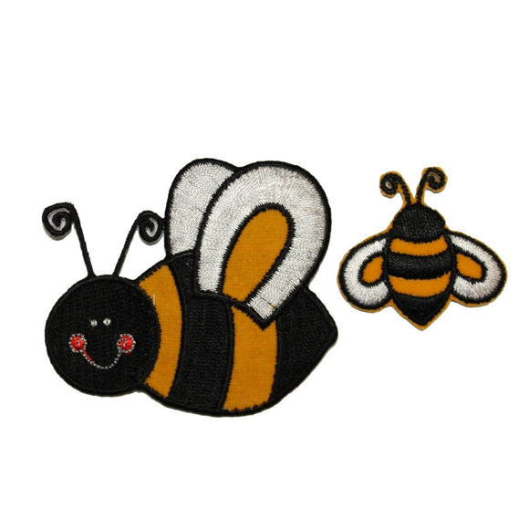ID 1619AB Set of 2 Bumblebee Patches Honey Bee Bug Embroidered Iron On Applique
