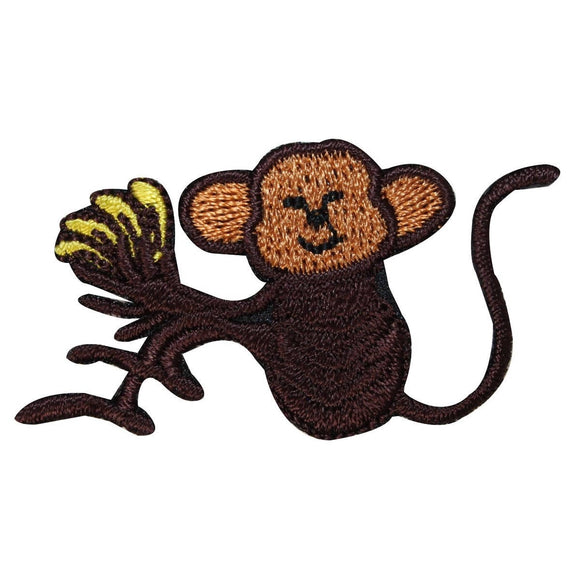 ID 1638B Happy Monkey With Bananas Patch Wild Jungle Embroidered IronOn Applique