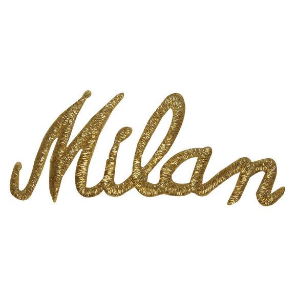 ID 1905 Milan Italy Name Patch Travel Souvenir Gold Embroidered Iron On Applique