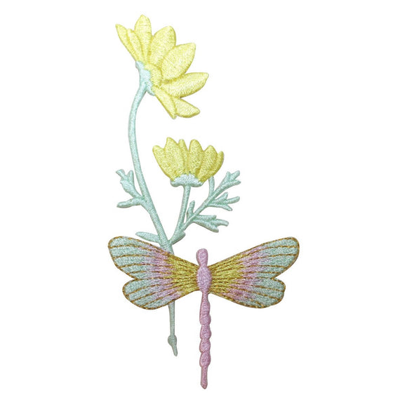 ID 1646A Dragonfly On Flower Patch Garden Craft Embroidered Iron On Applique