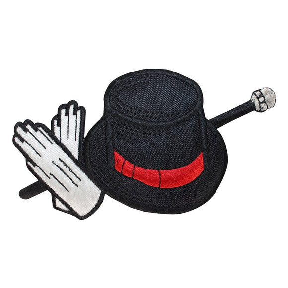 ID 1928 Magician Equipment Patch Hat Wand Magic Embroidered Iron On Applique
