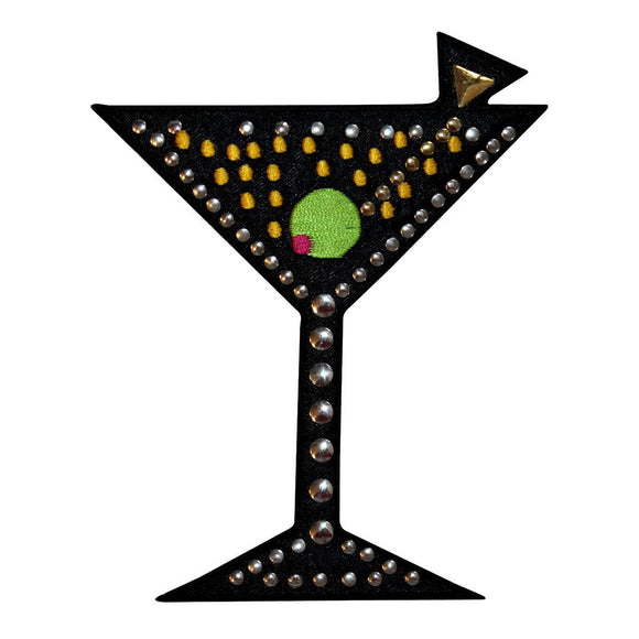 ID 1942 Studded Martini Glass Patch Alcoholic Drink Bar Club Iron On Applique
