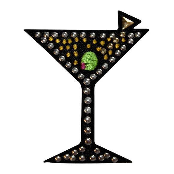ID 1943 Studded Martini Glass Patch Cocktail Alcoholic Drink Iron On Applique