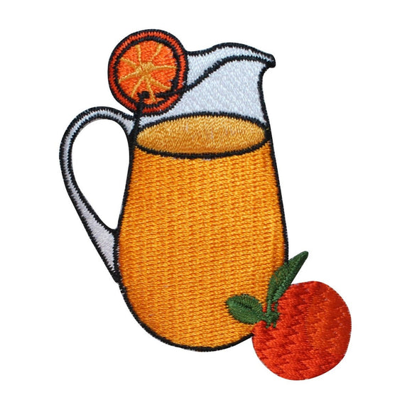 ID 1947 Pitcher Of Orange Juice Patch Morning Drink Embroidered Iron On Applique