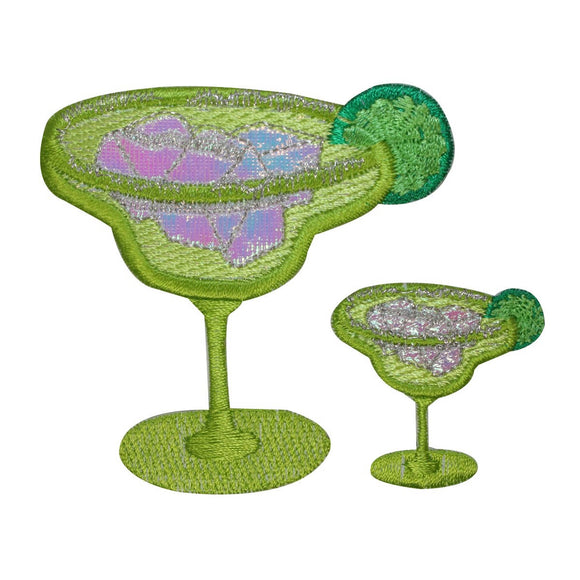 ID 1962AB Set of 2 Margarita Patches Lime Drinks Embroidered Iron On Applique