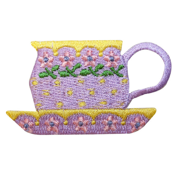 ID 1965Z Floral Teacup Patch Saucer Flower Mug Embroidered Iron On Applique