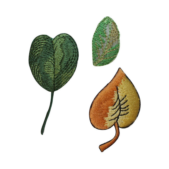 ID 1424ABC Set of 3 Assorted Leaf Patches Craft Embroidered Iron On Applique
