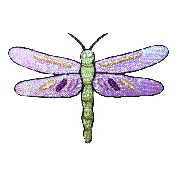 ID 1693 Purple Dragonfly Patch Garden Fairy Bug Embroidered Iron On Applique