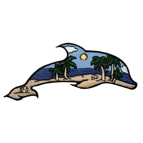 ID 1695 Beach Scene Dolphin Patch Ocean View Craft Embroidered Iron On Applique