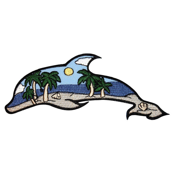 ID 1696 Beach Scene Dolphin Patch Ocean View Craft Embroidered Iron On Applique