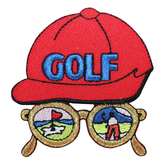 ID 1485 Golf Hat Scene Patch Glasses Golfing Craft Embroidered Iron On Applique