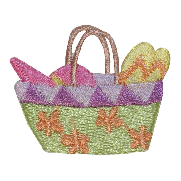 ID 1825 Beach Basket Patch Ocean Trip Bag Vacation Embroidered Iron On Applique