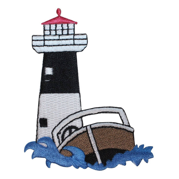 ID 1840 Lighthouse With Boat Patch Nautical Beach Embroidered Iron On Applique