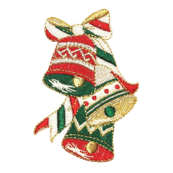 ID 8078 Festive Bells Ringing Patch Christmas Ring Embroidered Iron On Applique