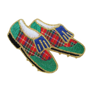 ID 1507 Golf Shoes Patch Golfing Cleats Plaid Spike Embroidered Iron On Applique