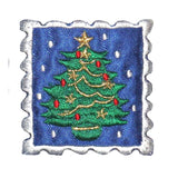 ID 8202B Christmas Tree Stamp Patch Holiday Collect Embroidered Iron On Applique