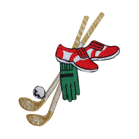 ID 1523 Golf Equipment Patch Golfer Shoes Clubs Embroidered Iron On Applique
