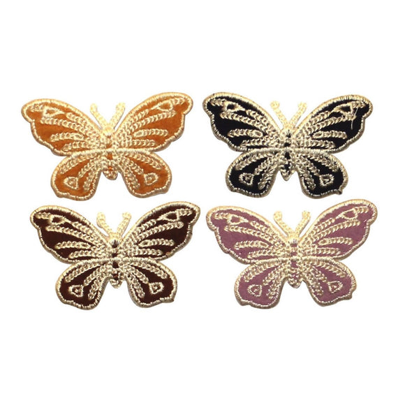 ID 2171A-D Set of 4 Butterfly Emblem Patches Bug Embroidered Iron On Applique