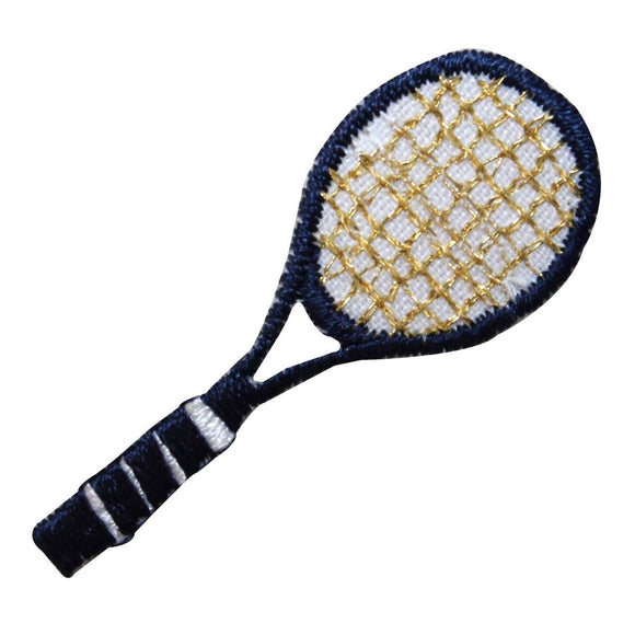 ID 1558 Tennis Racket Patch Blue Racquet Sports Embroidered Iron On Applique
