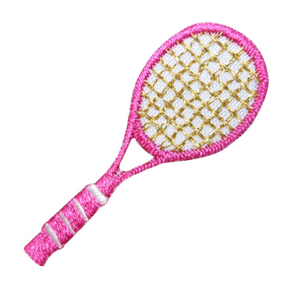 ID 1559 Tennis Racket Patch Pink Racquet Sports Embroidered Iron On Applique