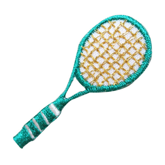 ID 1561 Tennis Racket Patch Green Racquet Sports Embroidered Iron On Applique