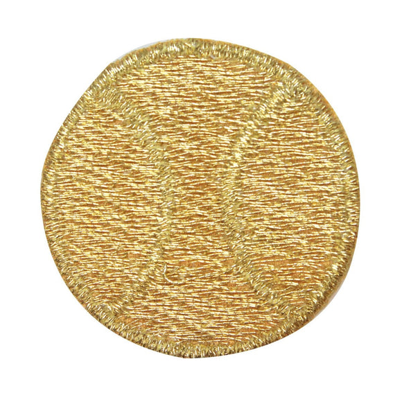 ID 1575 Gold Tennis Ball Patch Sports Equipment Embroidered Iron On Applique