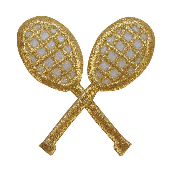 ID 1588A Gold Crossed Tennis Racket Patch Racquet Embroidered Iron On Applique