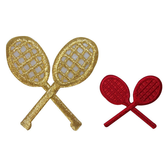 ID 1588AB Set of 2 Tennis Racket Patches Racquet Embroidered Iron On Applique