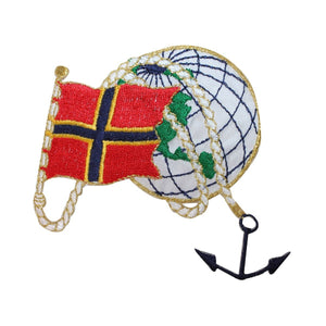 ID 2674 Nautical Flag Globe Patch Craft Ship Marine Embroidered Iron On Applique