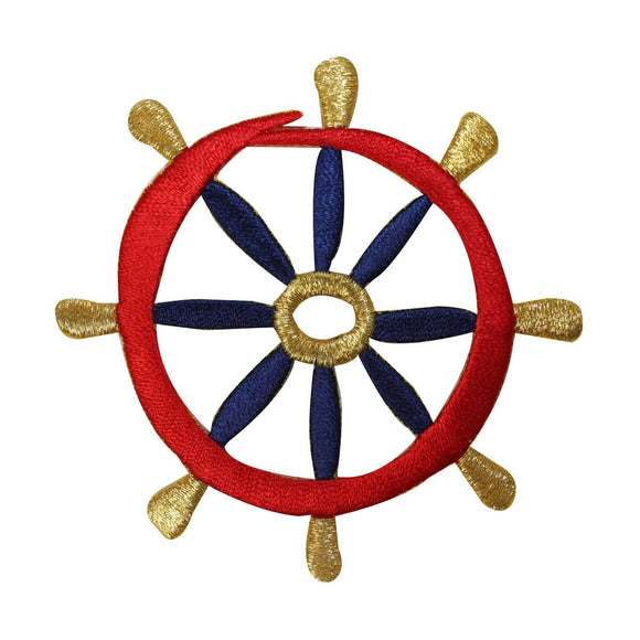 ID 2677 Nautical Ship Wheel Patch Boat Steer Marine Embroidered Iron On Applique