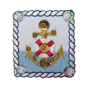 ID 2690 Sequin Bead Anchor Badge Patch Nautical Boat Ship Marine IronOn Applique