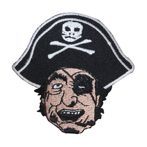 ID 2705 Pirate Face Patch Sailor Evil Sea Captain Embroidered Iron On Applique