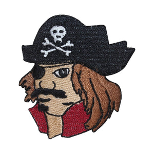ID 2706 Pirate Face Patch Sea Captain Evil Sailor Embroidered Iron On Applique