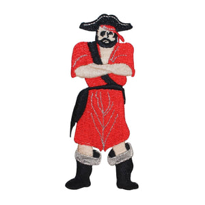 ID 2707 Pirate Standing Patch Sea Captain Evil Sail Embroidered Iron On Applique