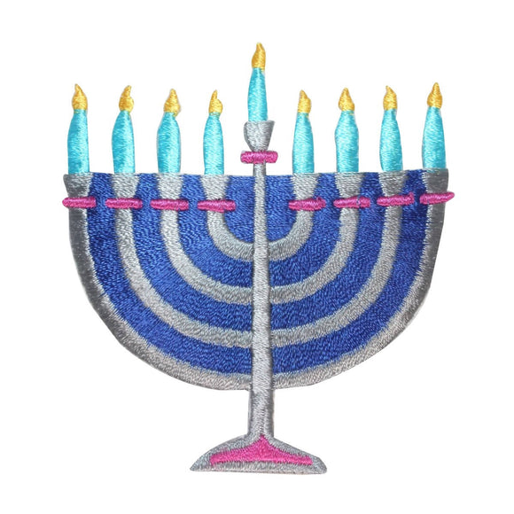 ID 8266 Hanukkah Menorah Patch Jewish Holiday Candle Embroidered IronOn Applique
