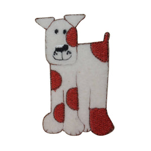 ID 2821 Fluffy Spotted Dog Patch Puppy Felt Pet Embroidered Iron On Applique